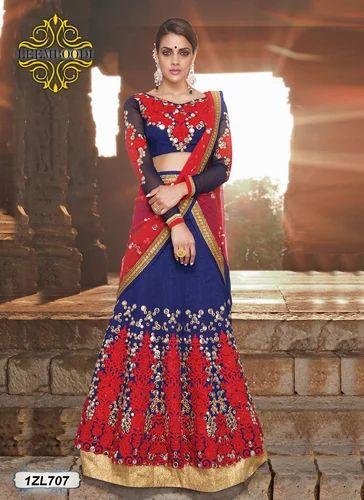 Blue And Red Georgette Indian Wedding Lehenga Choli