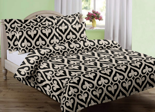 Cream And Black Bedding Set, R T EXPORTS LIMITED | ID: 19561087312
