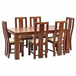 High Back Chair Brown Rosewood 6 Seater Dinning Set for Home, Size: 6x3 Feet