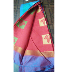 Party Wear Poly Cotton Sarees, With Blouse Piece
