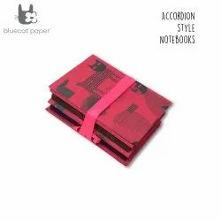 Red Accordion Style Journal/Notebook - Black Cat