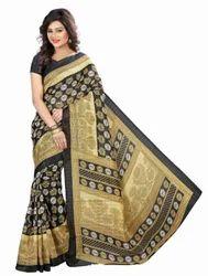 Black Queen Printed Bhagalpuri Silk Saree with Blouse Piece