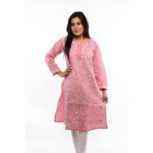 Small & Large Pink Casual Chikan Kurti