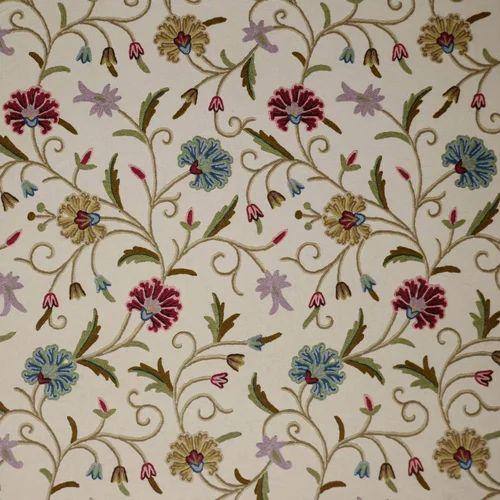 Jacobean Fl Cotton Crewel Fabric