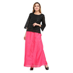Cottinfab Solid Pink Ethnic Long Skirts
