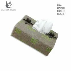 Linen Tissue box cover - parrot green square dots print