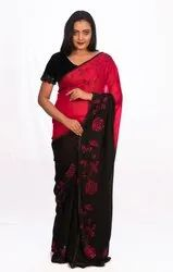 Georgette Flower Work Saree