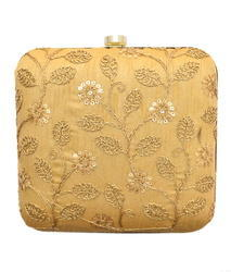 BOX SATIN Square Clutch With Embroidery