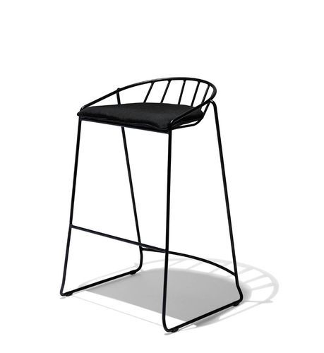 Industrial Bar Stool With Fabric Seat Counter Chair
