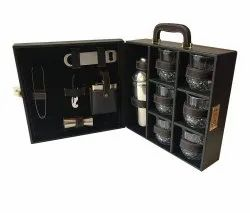Wooden Matt Briefcase Bar Set, Black