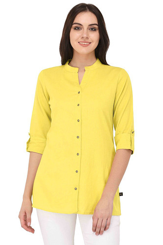 443733678f564a Ladies Yellow Cotton Flex Round Neck Kurta   Kurti Tops