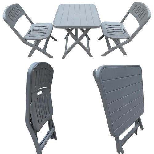 Folding Garden Dining Table Chairs Set 1 2 Grey Pp