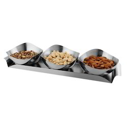 Steel Dry Fruit Tray 3 Bowl Set