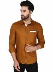 SKAVIJ Plain Men's Casual Cotton Long Sleeve Dress Shirt Contrast Collar Slim Fit