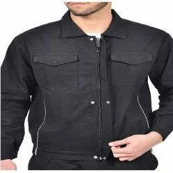 Black Men Safety Cotton Jacket with Reflective Piping, Model Name/Number: UFB-016