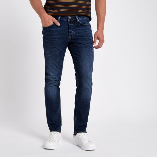 Faded Mens Dark Blue Jeans