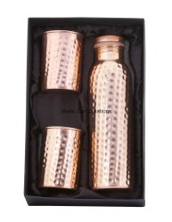 CU-29 Copper Hammered Bottle with 2 Glasses