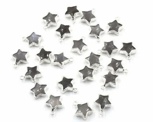 Gray Moonstone Star Shape Silver Plated Pendant