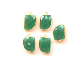 Green Onyx Gemstone Bezel Connector