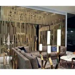 2-3 Feet Glass Designer Brown Mirror
