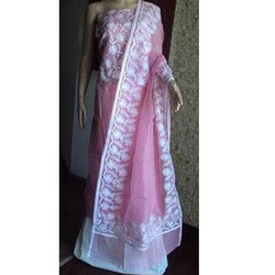 Net Pink Super Aari Work Dress Material