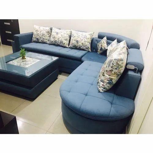 Modern Leather L Shape Sofa Set Rs
