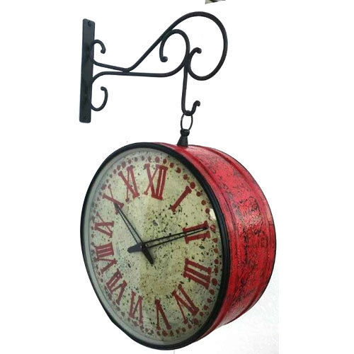 Analog Iron Railway Double Side Clock