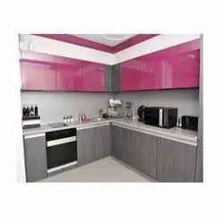 Pink Designer Modular Kitchen