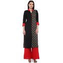 Cottinfab Women's Black Panelled Kurta With Contrast Palazzo
