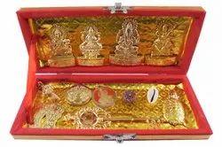 Worship Golden Shree Shri Dhanlaxmi Kuber Bhandari Yantra, Packaging Type: Box