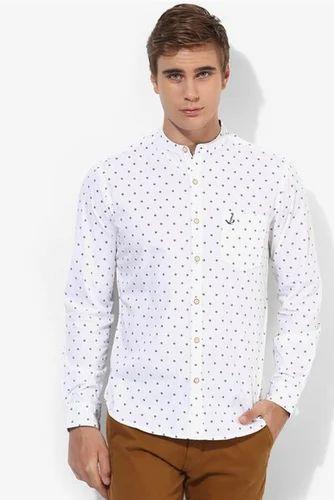 234ae706bcfa Mens Shirt - Bay Island White Printed Regular Fit Casual Shirt ...