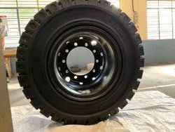 Black VELOX Heavy Duty Solid Rubber Tyres With Rims