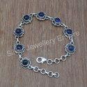 Purple 925 Sterling Silver Amethyst Gemstone Handmade Bracelet, Size: 20 Cm