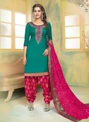 Daily Wear Patiala Suits With Bandhej Dupatta