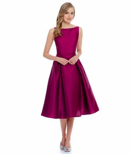 Dresses Casual Wear WIGGLEE New Pink Taffeta Plain Western Dress bdcb8cb1f
