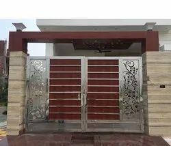 Modern Modular Stainless Steel Swing Gate, For Home, Office