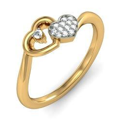 Real Diamond Heart Ring in 14k Gold