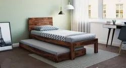 Modern Wooden Finish Single Bed, Size: 36x72 inches