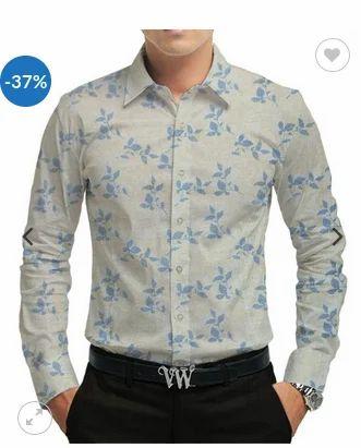 150b06f9d19b Cotton linen Off White Cotton Beige Blue Floral Print Fabric Shirt ...