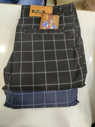 Regular Fit Summer Wear G-Fit Cotton Checks Trouser , Blue-Black