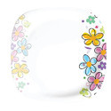 Rainbow Flower Square Plastic Plate
