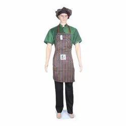 涤纶条纹厨房围裙与帽子