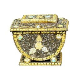 Brown Antique Wooden Handicraft Jewelry Box, for Home