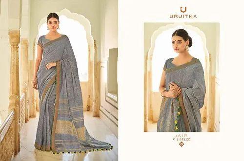 6c2e716169 Linen Silk Festive Wear Pure Linen Saree With 6.3 M Blouse Piece, Rs ...