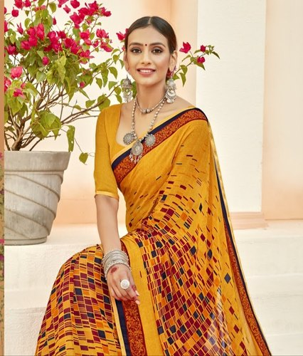 Casual Print With Lace Georgette Printed With Lace Saree