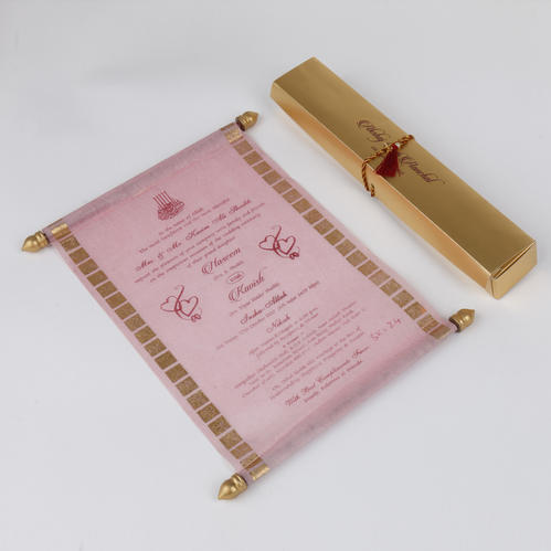 marriage scroll invitation card in pink wooly paper shape portrait