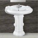 Ceramic Plain Bathroom Wash Basin Pedestal, Shape: Oval