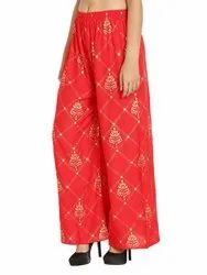 Regular Fit Women Rayon Designer Fall Printed Palazzo Pants For Woman