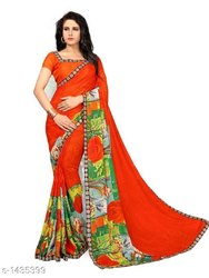 Designer Attractive Georgette Printed Sarees, 5.2 M (separate Blouse Piece)