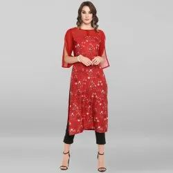 Red Poly Crepe Kurta(JNE3415)